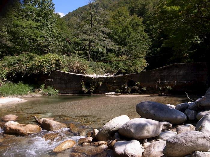 置賜野川のつり橋