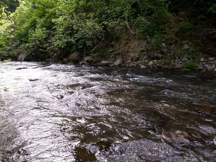 増水する川