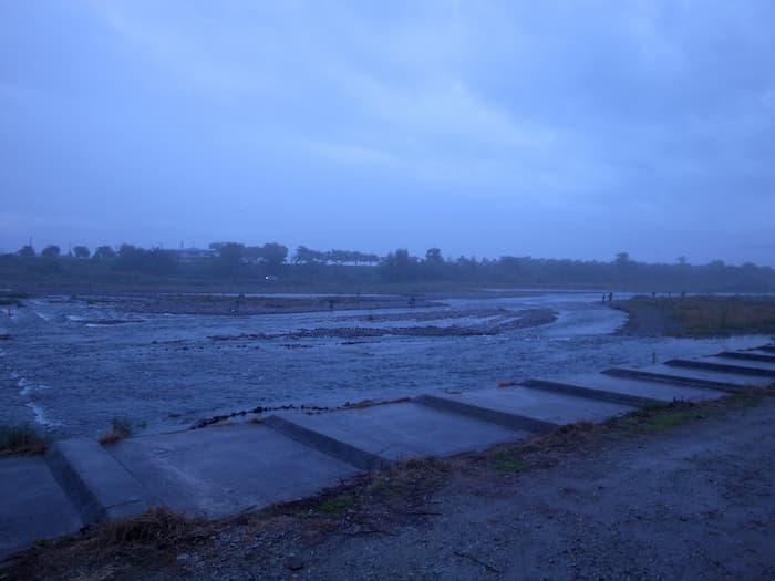 寒河江川鮭有効利用調査の本部前のポイント