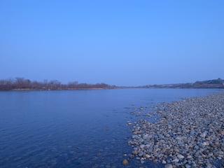 最上川下流の右岸