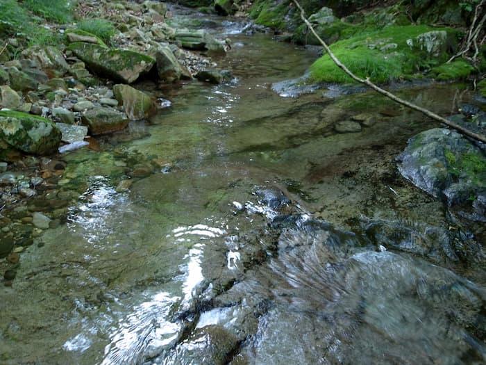 滑りやすい渓流(イメージ)