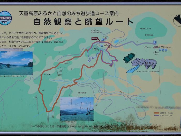 天童高原の遊歩道コース案内
