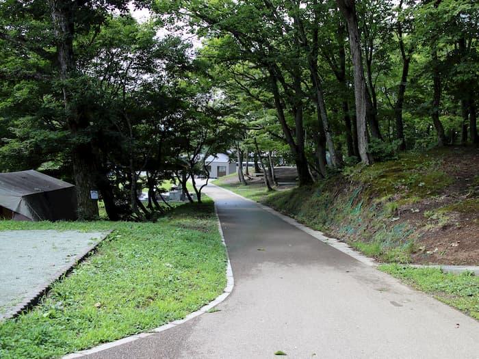 天童高原キャンプ場の坂道